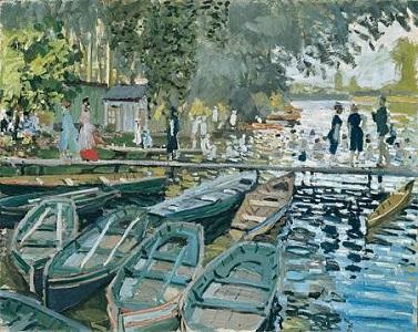 Bathers at La Grenouillere along the Seine River - Monet